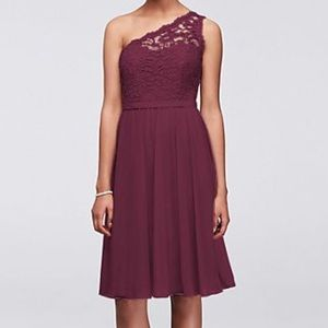 Short One Shoulder Corded Lace Dress